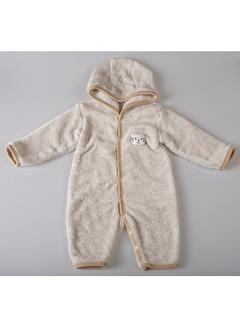 POKY Yeni Sezon Kız Erkek Bebek 3-12 Ay Kapüşonlu Kırçıllı Kedili Tulum-6690